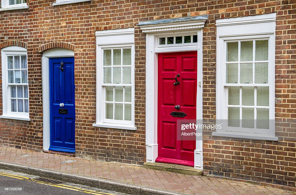 Traditional Colourful British Front Doors  Stock Photo & Traditional Colourful British Front Doors Stock Photo | Thinkstock