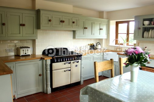 Traditional country kitchen  gas range cooker  wooden worktops  table   chairsTraditional Country Kitchen Gas Range Cooker Wooden Worktops Table  . Kitchen Design With Range Cooker. Home Design Ideas
