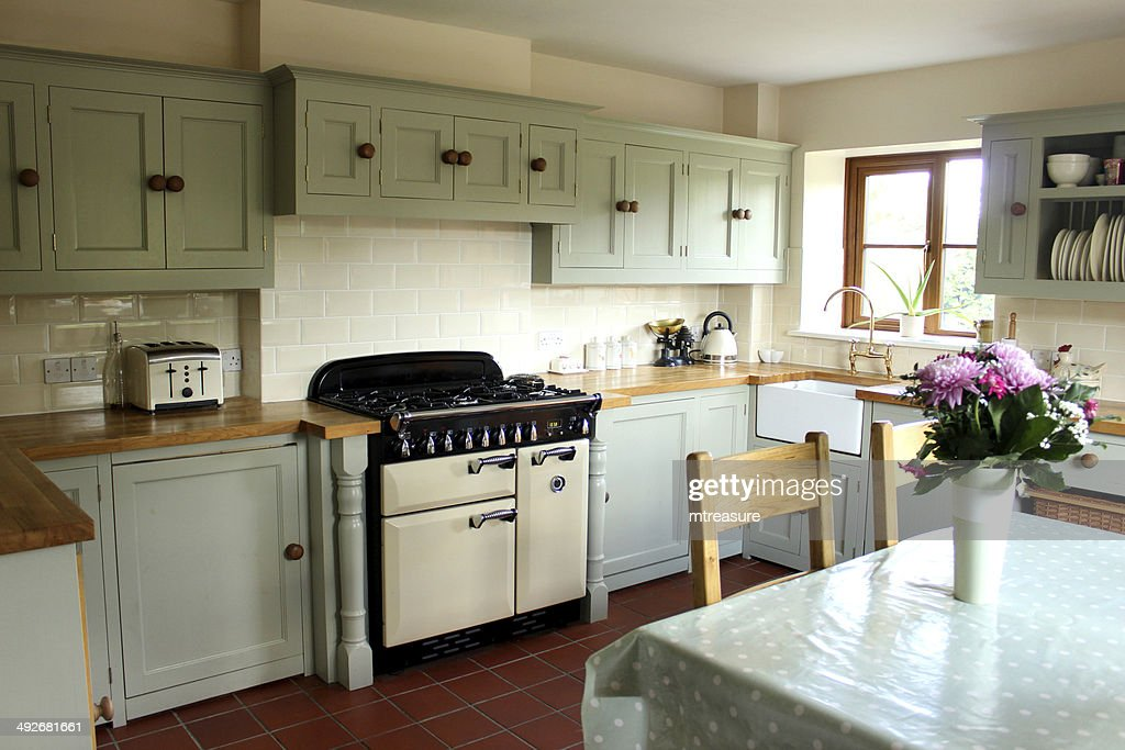 Beautiful Traditional Country Kitchen, Gas Range Cooker, Wooden Worktops, Table,  Chairs Amazing Ideas