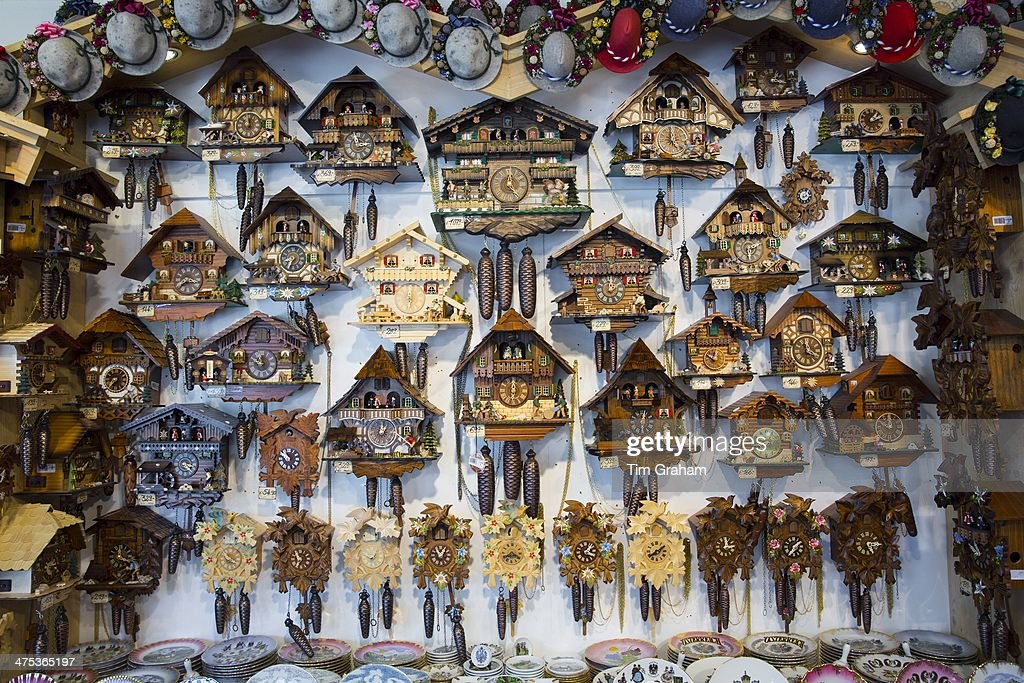 traditional cuckoo clocks on sale in shop in the town of seefeld in the tyrol