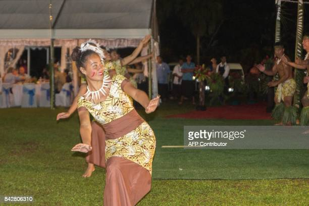 Traditional dancers perform during the opening ceremony of the 48th Pacific Islands Forum in Apia Samoa on September 5 2017 The 48th PIF leaders...
