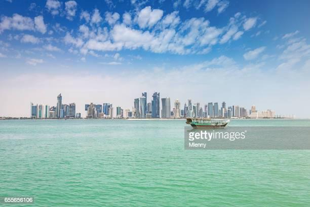 Traditional Dhow Modern Doha Skyline Qatar