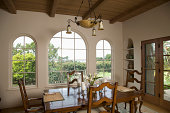 Traditional dining room with ladder back chairs