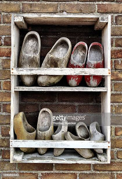 Traditional dutch wooden shoes in North Holland