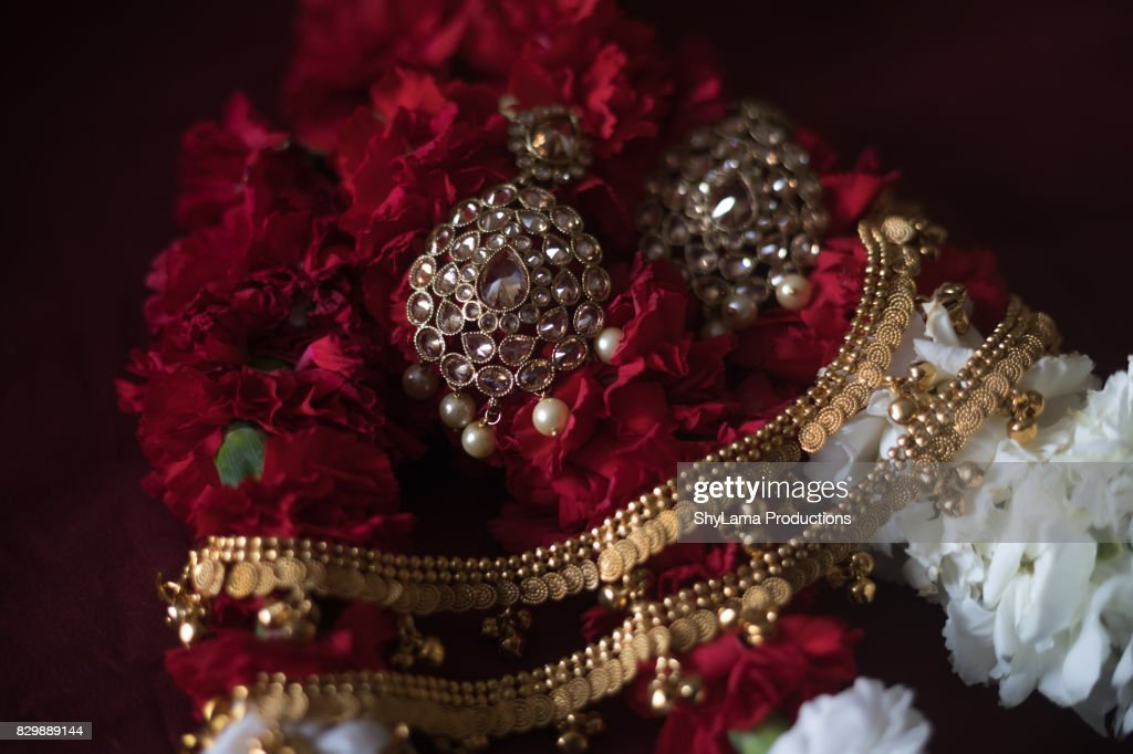 Traditional East Indian Wedding Jewelry In Natural Light Stock Photo