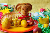 Traditional easter lamb cake with easter decoration