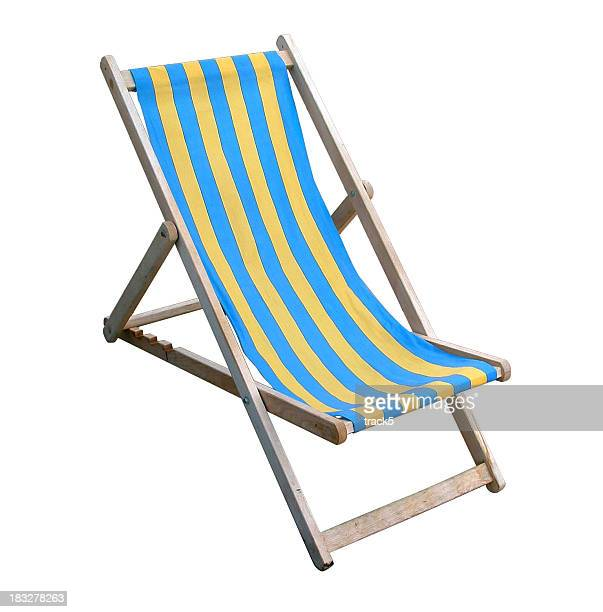 Traditional English deckchair isolated on white with clipping path
