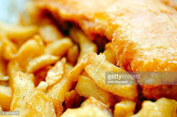traditional english fish and chips close up