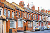 Traditional English terraced houses around Cricklewood in London