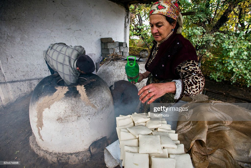 Traditional family bakery and small restaurant with tandoor clay oven where samsa traditional Uzbek pastry with ground lamb and onion are baked and...
