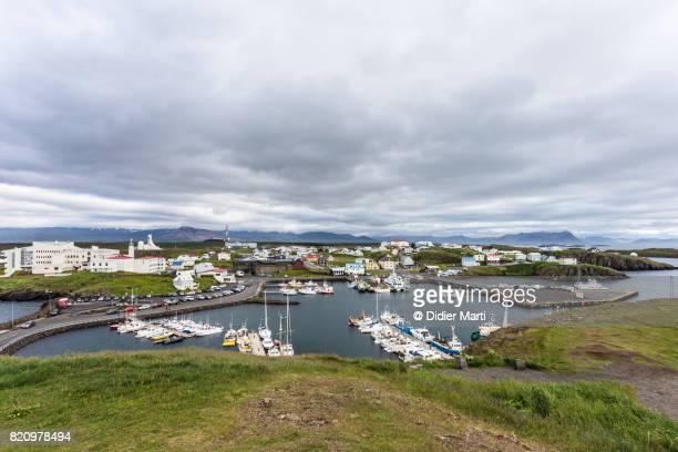 Traditional fisherman harbor in Stykkisholmurn village, Iceland