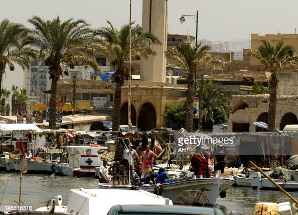 Traditional fishing boats are anchored in the old harbour of the coastal city of Sidon south of Beirut on July 13 2012 Sidon is known for its...