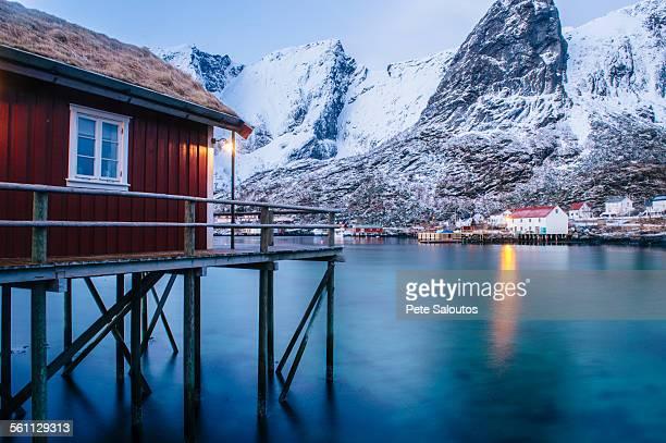 Traditional fishing hut on stilts, Reine, Lofoten, Norway