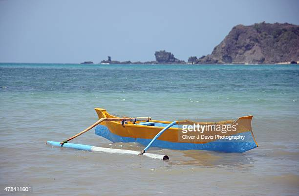 Traditional Fishing Skiff in Kuta Bay, Lombok