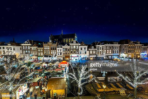 Traditional floating Christmas Market in the old town of Leiden
