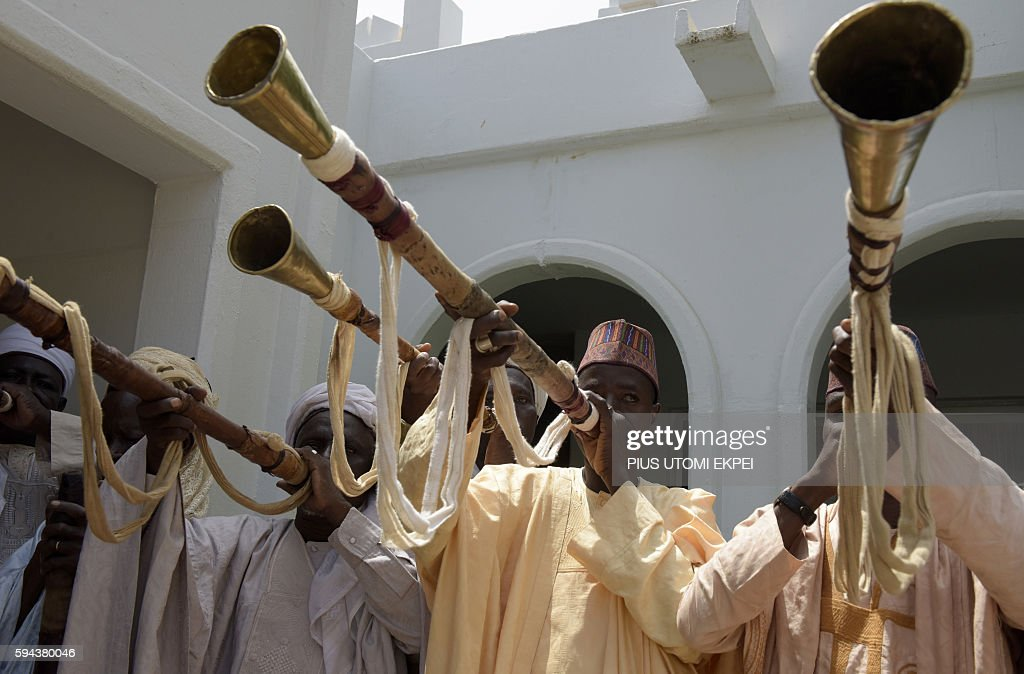 Traditional flutists perform to welcome US Secretary of State John Kerry at the palace of the Sultan of Sokoto on August 23 2016 in Sokoto Kerry...
