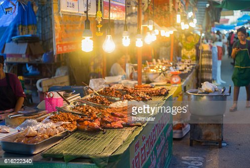 traditional food shop at thai market walking street : Stock Photo