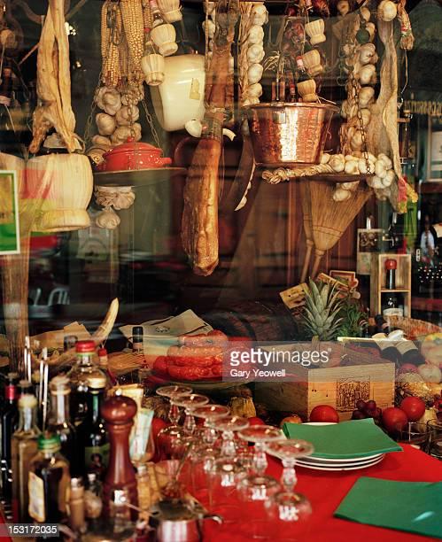 Traditional food shop window display
