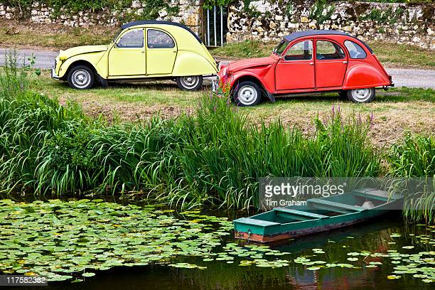 Traditional French Citroen Deux Chevaux 2CV cars at Angles Sur L'Anglin village Vienne near Poitiers France
