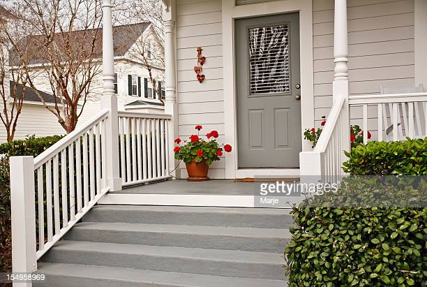 Traditional Front Porch with Geraniums