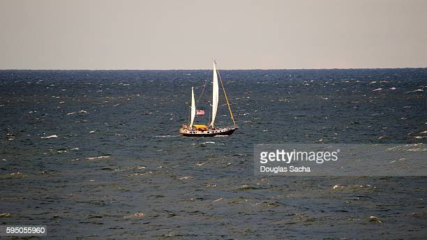 Traditional gaff sail schooner in the open water