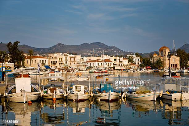 Traditional Greek fishing boats in Aegina, Greece.