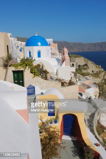 Traditional Greek Houses traditional greek houses and curch santorini stock photo | getty