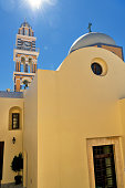 View of traditional Greek island architecture in the village of Fira, Santorini island.
