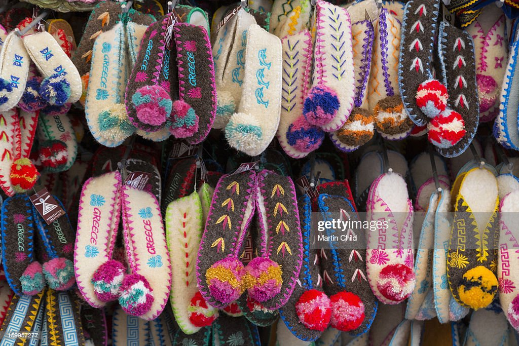 traditional Greek slippers for sale : Stock Photo