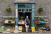 A traditional greengrocer selling fruit and vegetables on May 28 2016 in HayonWye Wales The Hay Festival is an annual festival of literature and arts...
