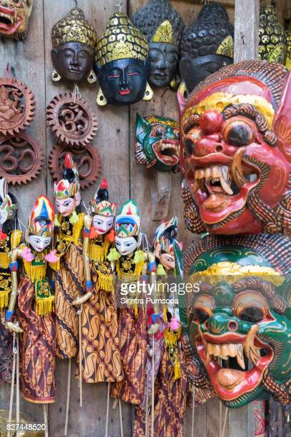 Traditional handicraft puppets souvenir in Bali, Indonesia