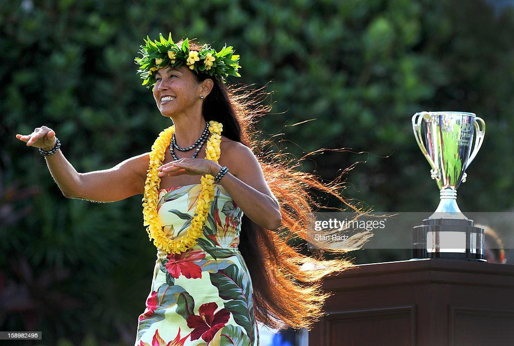 Traditional hawaiian dancer, Wainani Kealoha performs before the first round of the Hyundai Tournament of Champions at Plantation Course at Kapalua on January 4, 2013 in Kapalua, Hawaii.
