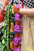 Traditional Hawaiian Leis during the Hawaiin Lei Day Festival in Waikiki, Oahu Island. In Hawaiian tradition, these garlands are the welcome sign. Lei has become the symbol of Hawaii to millions of vi