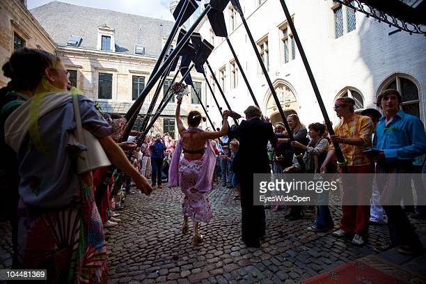 A traditional Hippie marriage in front of Brussels town hall on September 10 2010 in Brussels Belgium