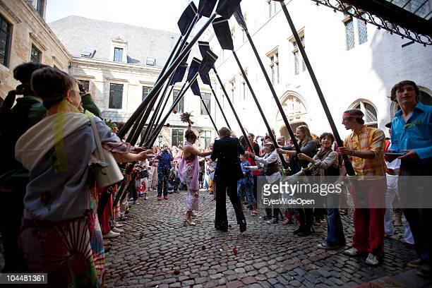 A traditional Hippie marriage in front of Brussels town hall The fourth annual Alnwick Brussels Beer Festival took place at the Grand Place with the...