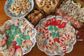 Traditional homemade Christmas cookies lie on plates in a household on December 21 2010 in Berlin Germany Christmas cookies are an intrinsic part of...