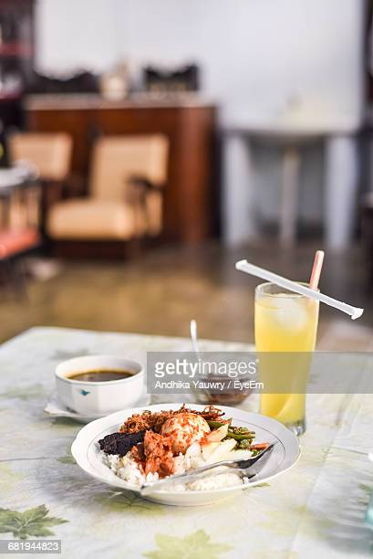 Traditional Hot And Spicy Rice Plate And Juice