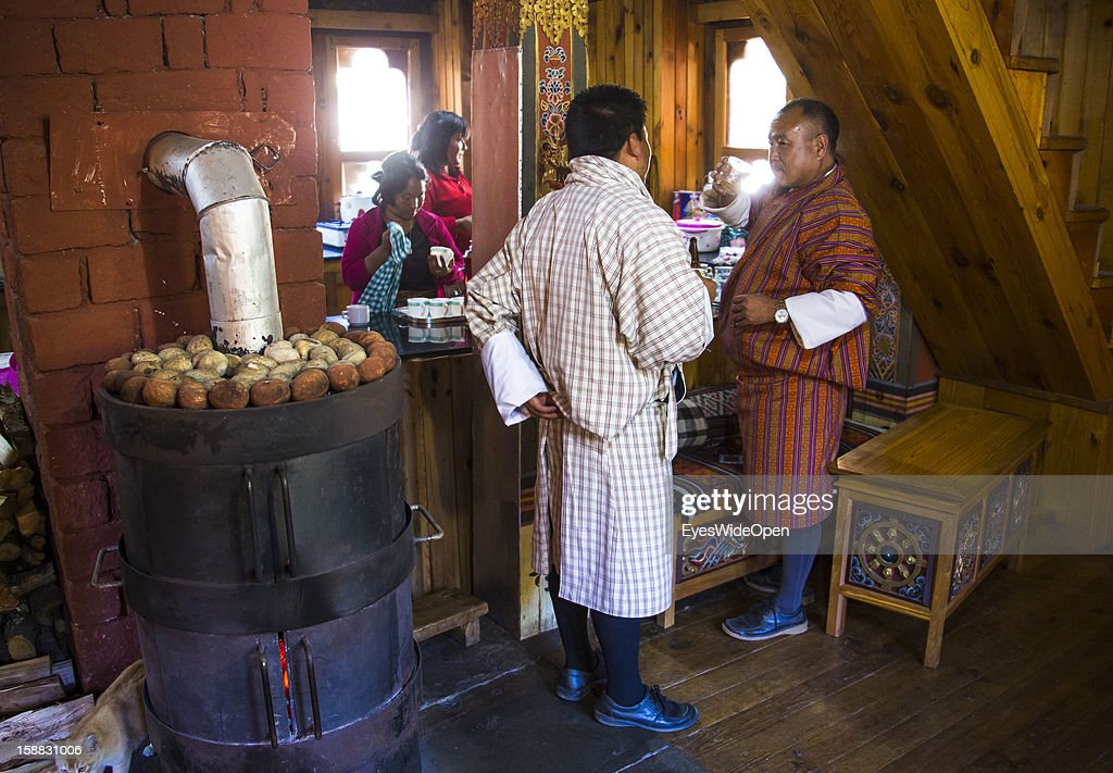 Traditional house with kitchen on November 18, 2012 in Bumthang, Bhutan.