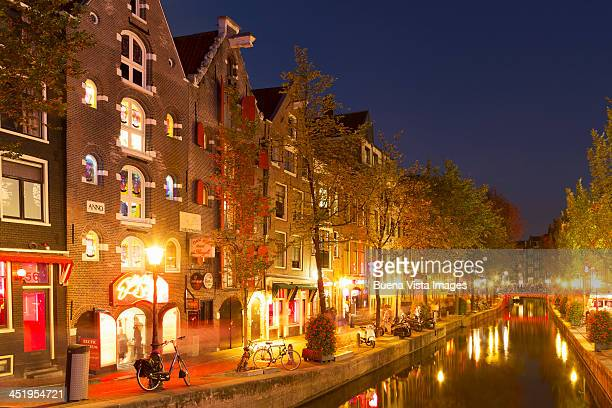 Traditional houses and canal in Red Light district