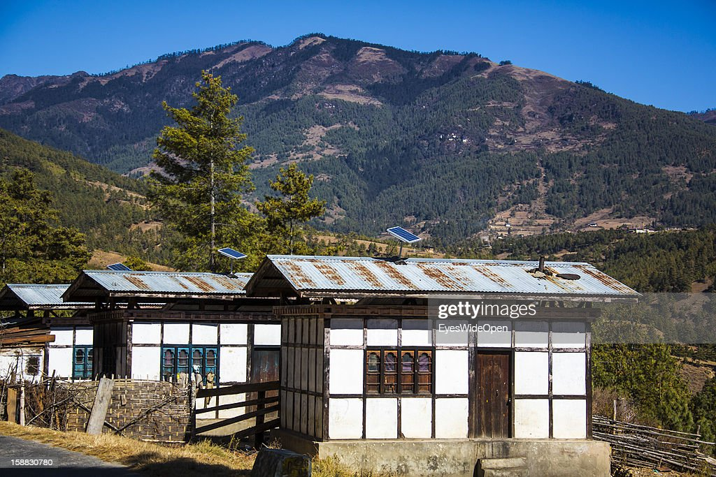 Traditional houses with solar panels near Burning Lake on November 18, 2012 in Bumthang, Bhutan.