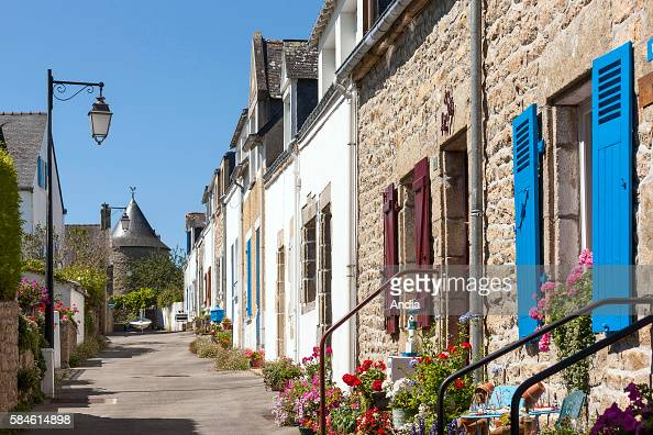 Traditional housesin the small town of La Trinite sur Mer Former fishermen attached houses