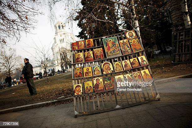 Traditional icons on sale from a street vendor are pictured on December 31 2006 in Sofia Bulgaria Bulgaria and Romania will join the European Union...