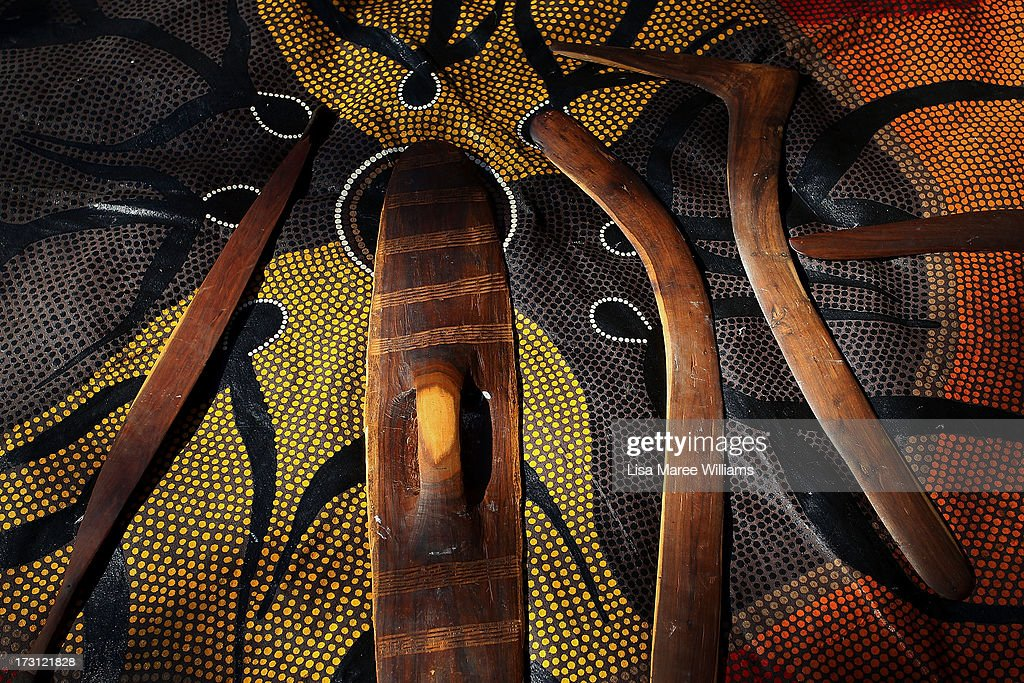 Traditional indigenous weapons on display during a public NAIDOC celebration at Hyde Park on July 8, 2013 in Sydney, Australia. NAIDOC is a celebration of Aboriginal and Torres Strait Islander cultures and an opportunity to recognise the contributions of Indigenous Australians.