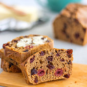Homemade Irish barmbrack, also called tea cake or fruitcake.
