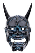 Traditional japanese demon mask used in Noh theater, isolated on white background