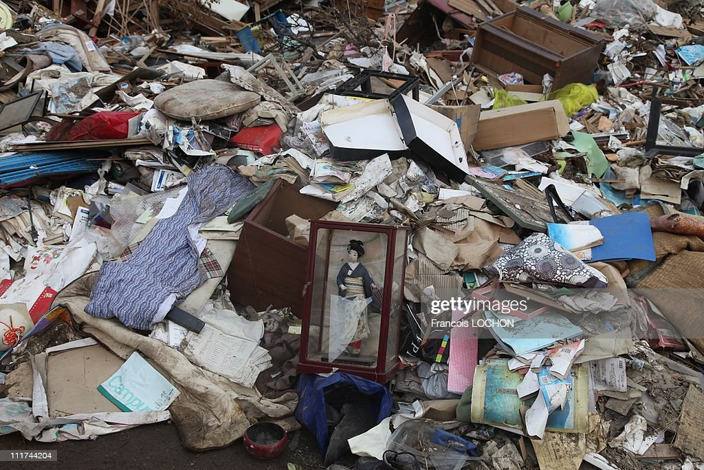 A traditional Japanese doll is left in the rubble destroyed by the earthquake on April 4,2011, in Myako City,Japan. These objects are from the 30 000 victims of the earthquake that hit Japan on March 11, 2011 followed by an tsunami.