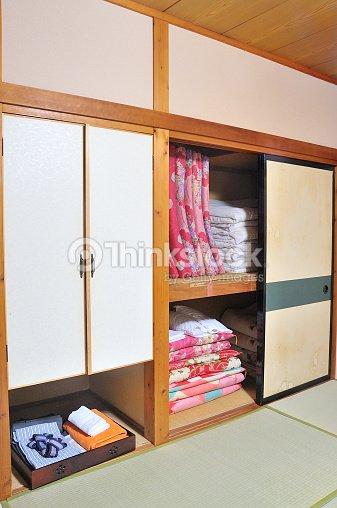 Traditional Japanese Futon Mattresses In Ryokan Style Room Stock ...