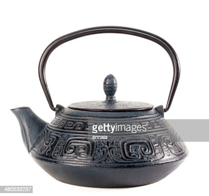 traditional Japanese iron teapot : Stock Photo