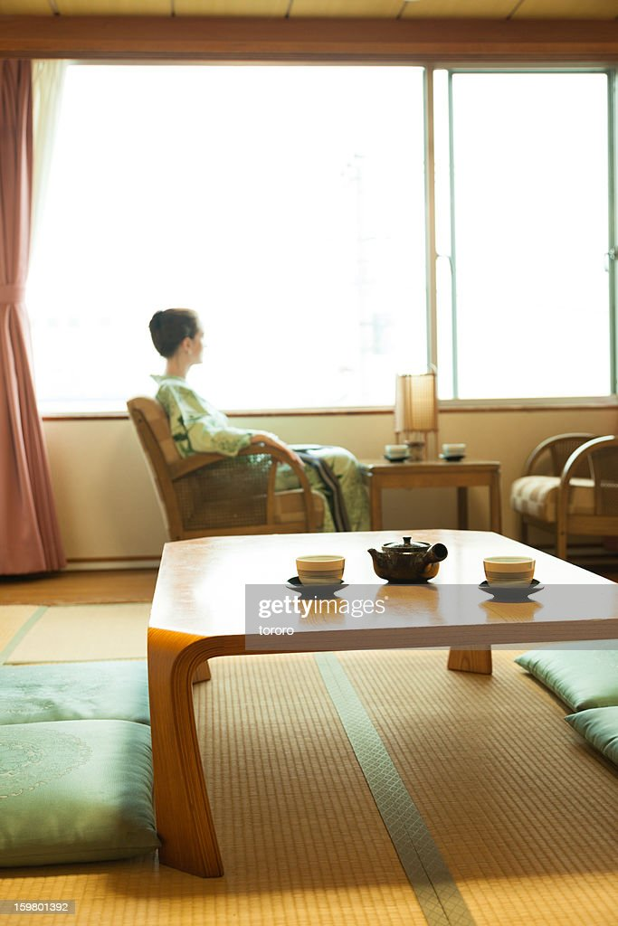 Traditional Japanese room with tea set on table : Stock Photo