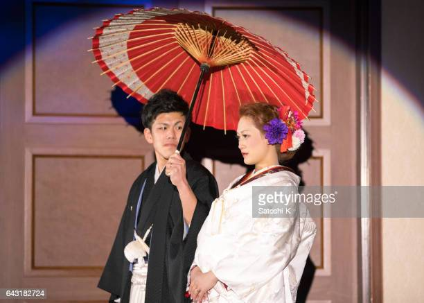 Traditional Japanese style of bride and groom entering party room